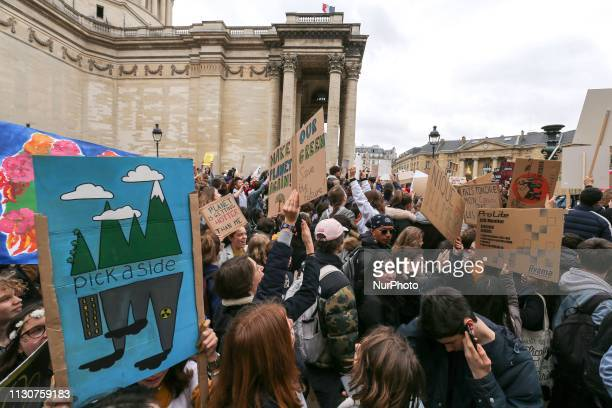 Youth take part in a demonstration against climate change on March 15 2019 near the Pantheon in Paris The worldwide youth protests were inspired by a...