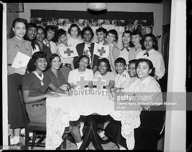 Youth Team of 1952 Red Cross Membership Roll Campaign members seated Sherlyn Dudley Lyda Jo Boswell Patricia Knott Charlotte Carter Betty Love Louise...