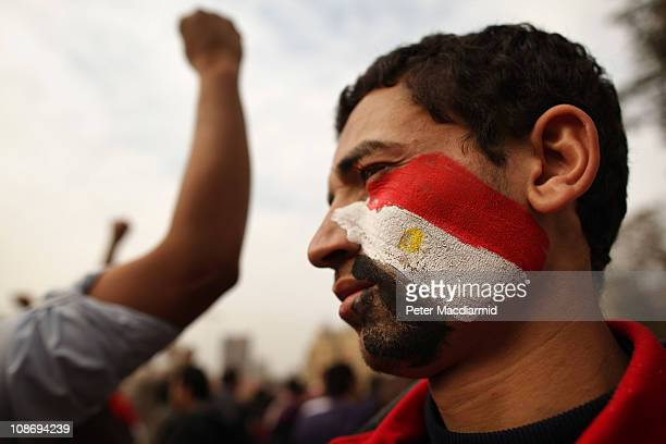 Youth with an Egyptian flag painted on his face stands in Tahrir Square on February 1, 2011 in Cairo, Egypt. Protests in Egypt continued with the...