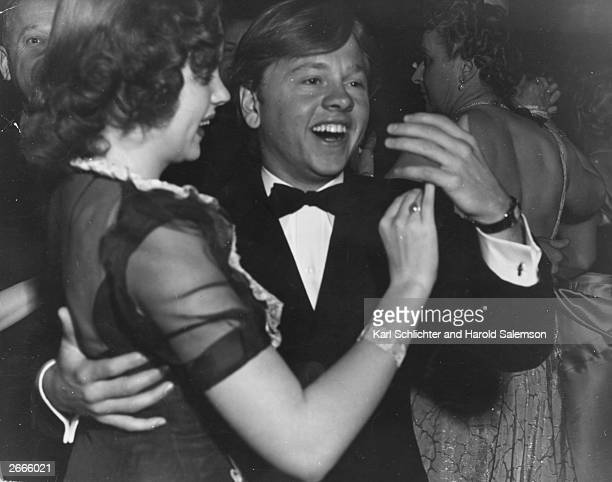 Youthful star Judy Garland dances with Mickey Rooney