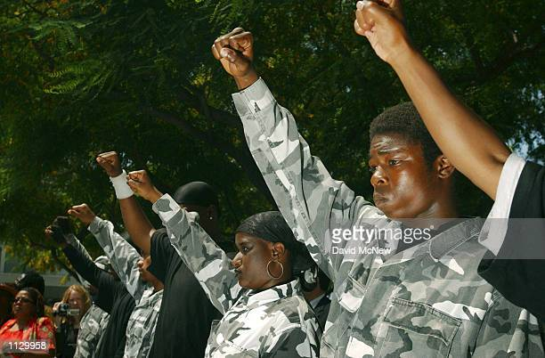 Youths calling themselves Black Riders raise their fists to the chant of Black Power at a march to protest the recent videotaped beating of 16yearold...