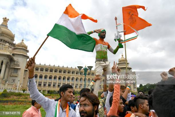 Youths celebrate India's 73rd Independence Day which marks the end of British colonial rule in Bangalore on August 15 2019