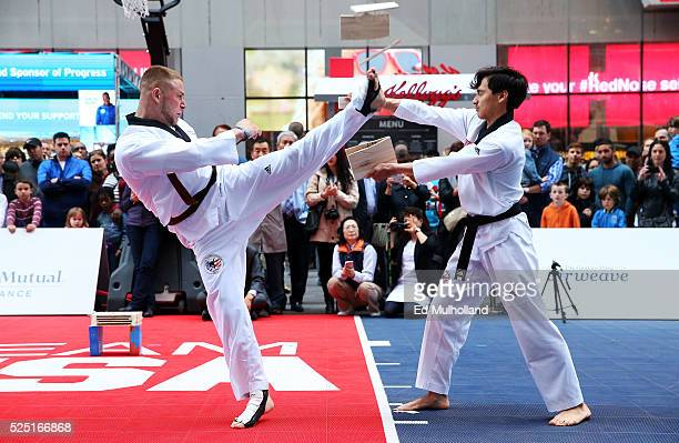 Youths demonstrate Taekwondo during Team USA's Road to Rio Tour presented by Liberty Mutual on April 27 2016 in New York City The event marks 100...