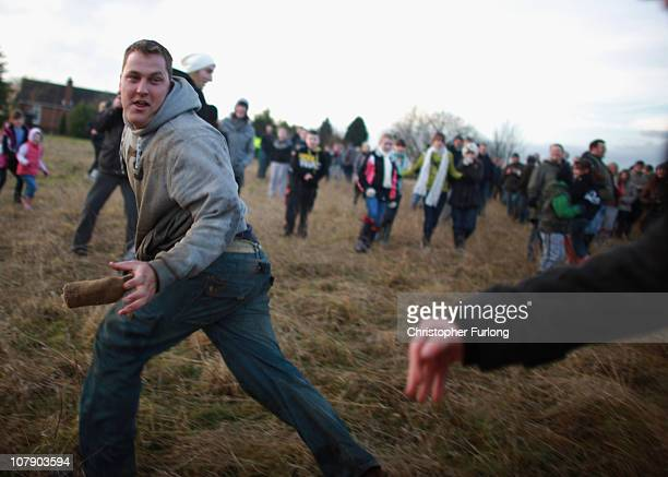 Youths fight for the hessian Hood during the Haxey Hood game at Haxey Village on January 6 2011 in Doncaster England The origins of the ancient game...