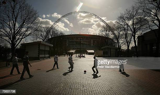 Youths play street football on sight of Wembley Stadium on March 9 2007 in London The Football Association is expected to receive the keys to the...