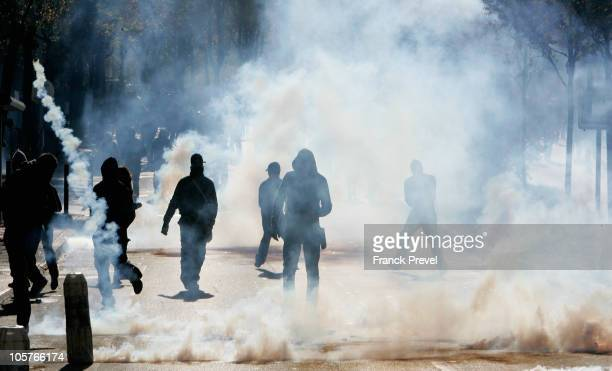Youths riot with the police in Nanterre on October 20 a western Paris suburd France Strikes threaten to paralyse France's economy as protests against...