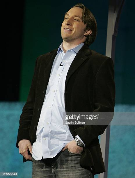 YouTube CEO and cofounder Chad Hurley speaks during a keynote address by CBS Corp President and CEO Leslie Moonves at the 2007 International Consumer...