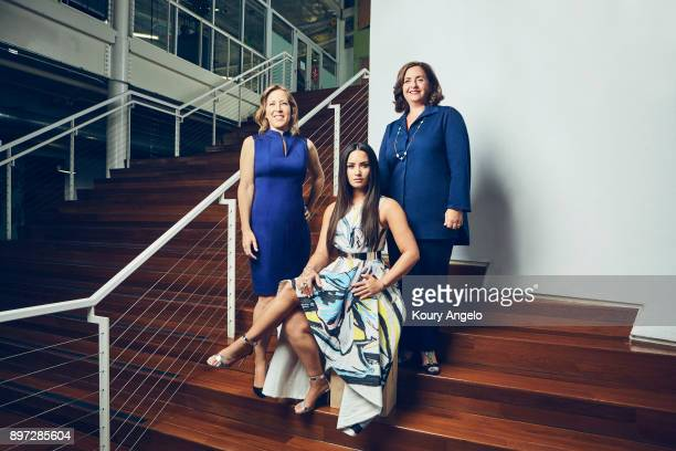 YouTube CEO Susan Wojcicki Demi Lovato and content head Susanne Daniels are photographed for The Hollywood Reporter on June 20 2017 in Los Angeles...
