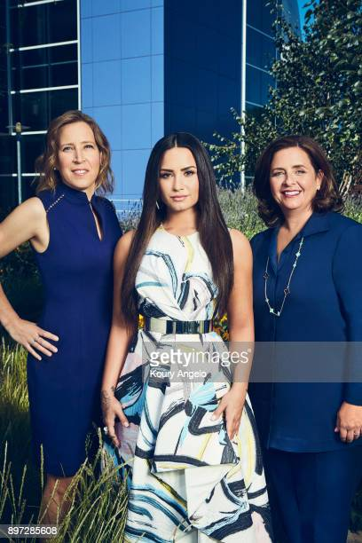 YouTube CEO Susan Wojcicki, Demi Lovato and content head Susanne Daniels are photographed for The Hollywood Reporter on June 20, 2017 in Los Angeles,...
