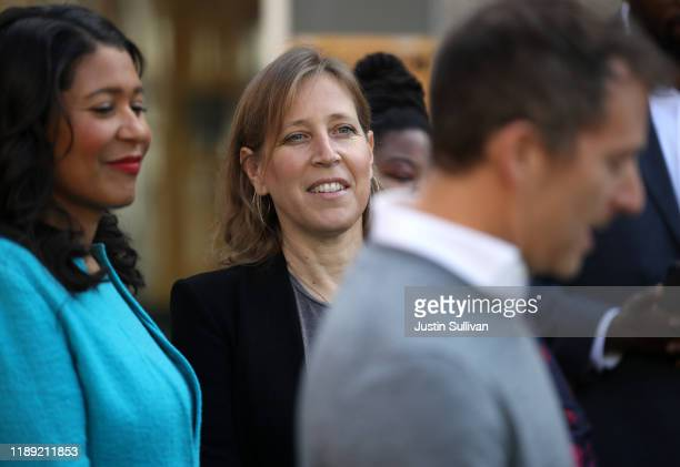 YouTube CEO Susan Wojcicki looks on during a press conference at Hamilton Families on November 21, 2019 in San Francisco, California. Wojcicki and...
