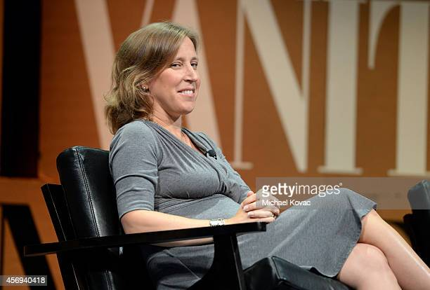 """Youtube CEO Susan Wojcicki speak onstage during """"Who Owns Your Screen?"""" at the Vanity Fair New Establishment Summit at Yerba Buena Center for the..."""