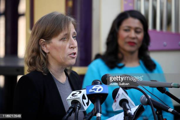 YouTube CEO Susan Wojcicki speaks as San Francisco mayor London Breed looks on during a press conference at Hamilton Families on November 21, 2019 in...