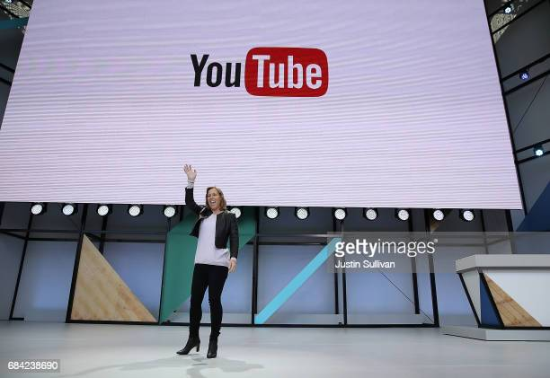 YouTube CEO Susan Wojcicki speaks during the opening keynote address at the Google I/O 2017 Conference at Shoreline Amphitheater on May 17, 2017 in...