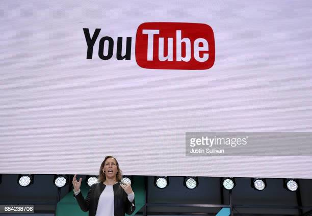 YouTube CEO Susan Wojcicki speaks during the opening keynote address at the Google I/O 2017 Conference at Shoreline Amphitheater on May 17 2017 in...
