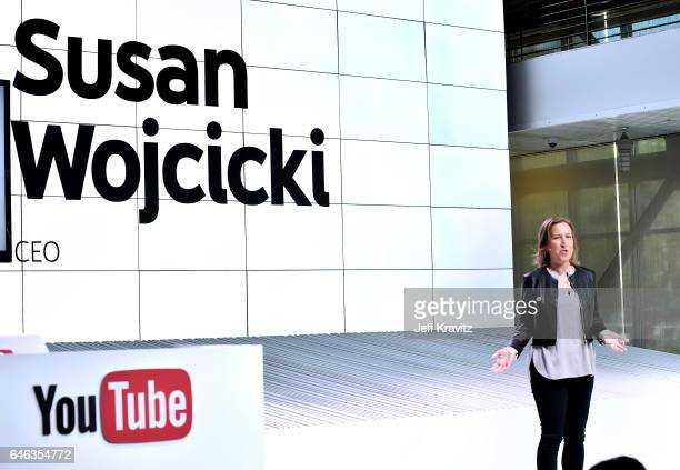 YouTube CEO Susan Wojcicki speaks onstage during the YouTube TV announcement at YouTube Space LA on February 28, 2017 in Los Angeles, California.