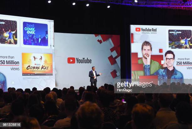 YouTube Chief Product Officer Neal Mohan speaks onstage during the YouTube Keynote Building Communities and the Next Generation of Media Companies...