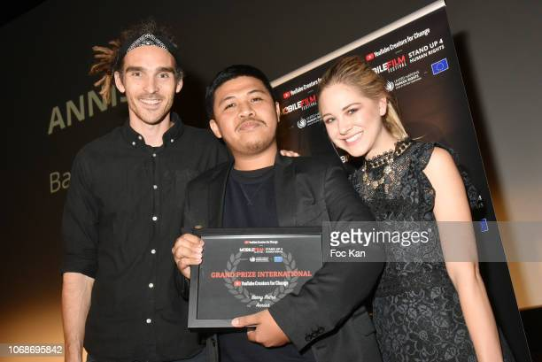 Youtube co founder Louis Cole director Barry Putra Grand Prix interntionalÊand Youtube co founder Diana Zur Lowen attend the 'Mobile Film Festival...