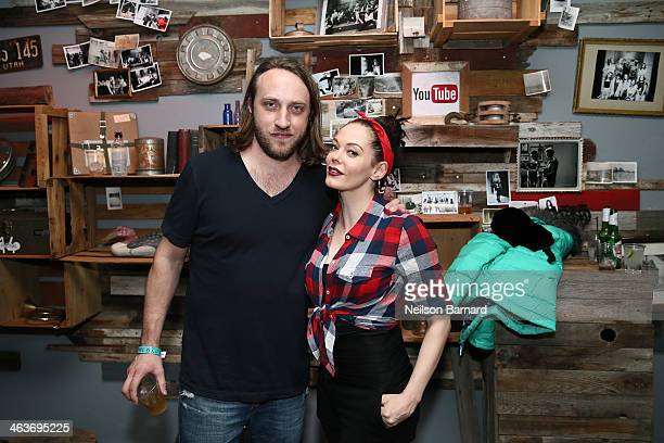 YouTube cofounder Chad Hurley and actress Rose McGowan attend the YouTube on Main Street Party on January 18 2014 in Park City Utah