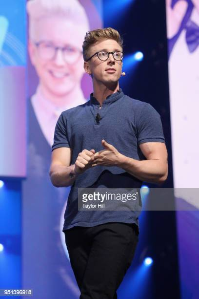 YouTube creator Tyler Oakley speaks onstage during the YouTube Brandcast 2018 presentation at Radio City Music Hall on May 3, 2018 in New York City.