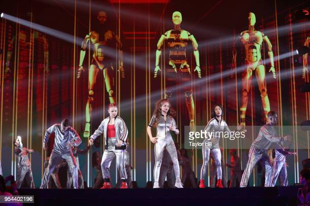 YouTube creators Jaja Vankova Dytto and Lia Kim perform onstage during the YouTube Brandcast 2018 presentation at Radio City Music Hall on May 3 2018...