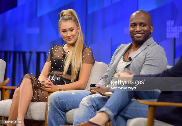YouTube creators Lauren Riihimaki and Adande Thorne speak onstage during 'TheirTube Creators for the Next Generation' at Vanity Fair's 6th Annual New...
