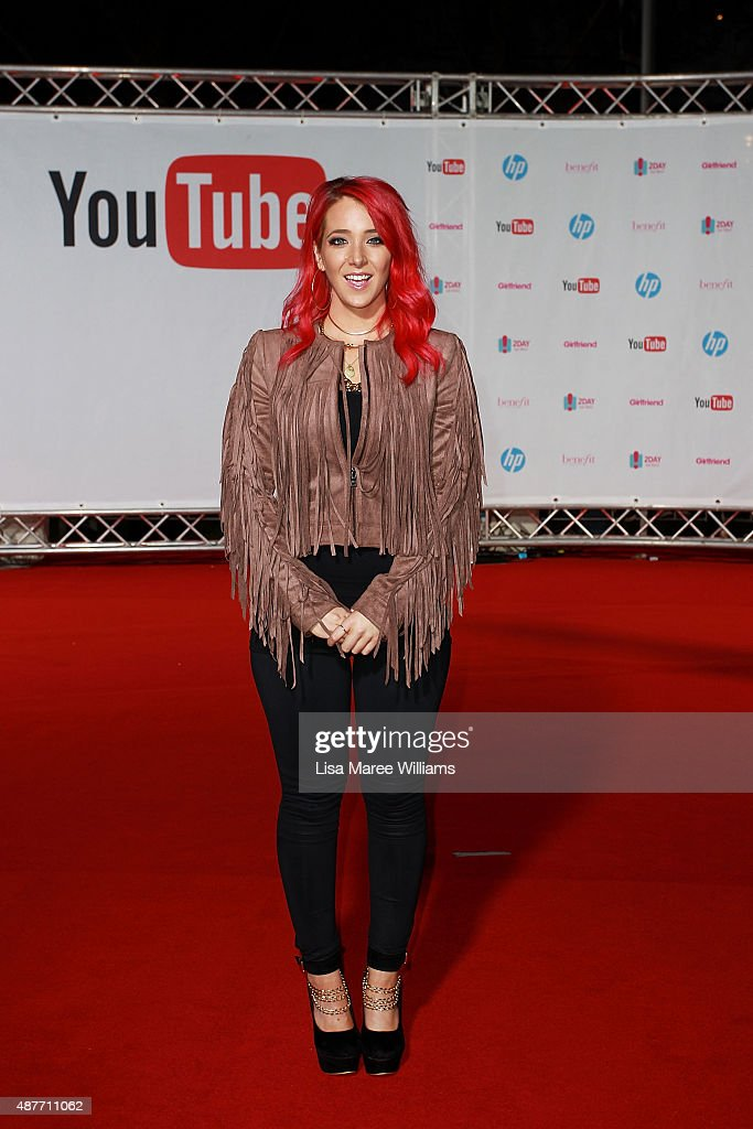 YouTube entertainer Jenna Marbles arrives at the YouTube FanFest 2015 at Qantas Credit Union Arena on September 11, 2015 in Sydney, Australia.