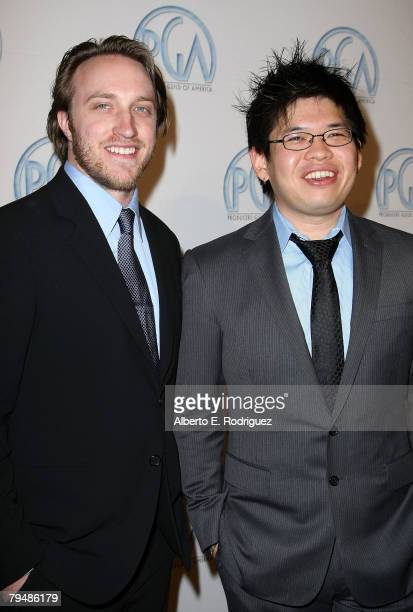 YouTube founders Chad Hurley and Steve Chen arrive at the 19th annual Producers Guild Awards held at the Beverly Hilton Hotel on February 2 2008 in...