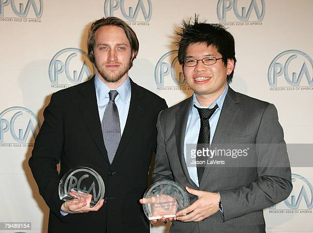 YouTube founders Chad Hurley and Steve Chen in the press room the 2008 Producers Guild Awards at the Beverly Hilton Hotel on February 2 2008 in...