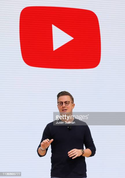 YouTube global director of Gaming VR and AR Telco and Tech Ryan Wyatt speaks during the GDC Game Developers Conference on March 19 2019 in San...
