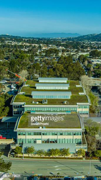 youtube headquarters aerial green roof green building san bruno ca - san bruno stock pictures, royalty-free photos & images