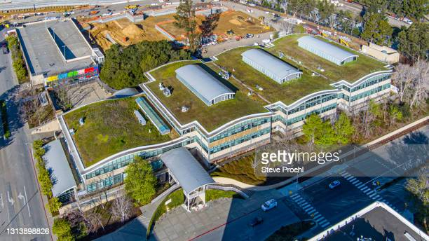 youtube headquarters aerial view san bruno c google green roof - san bruno stock pictures, royalty-free photos & images