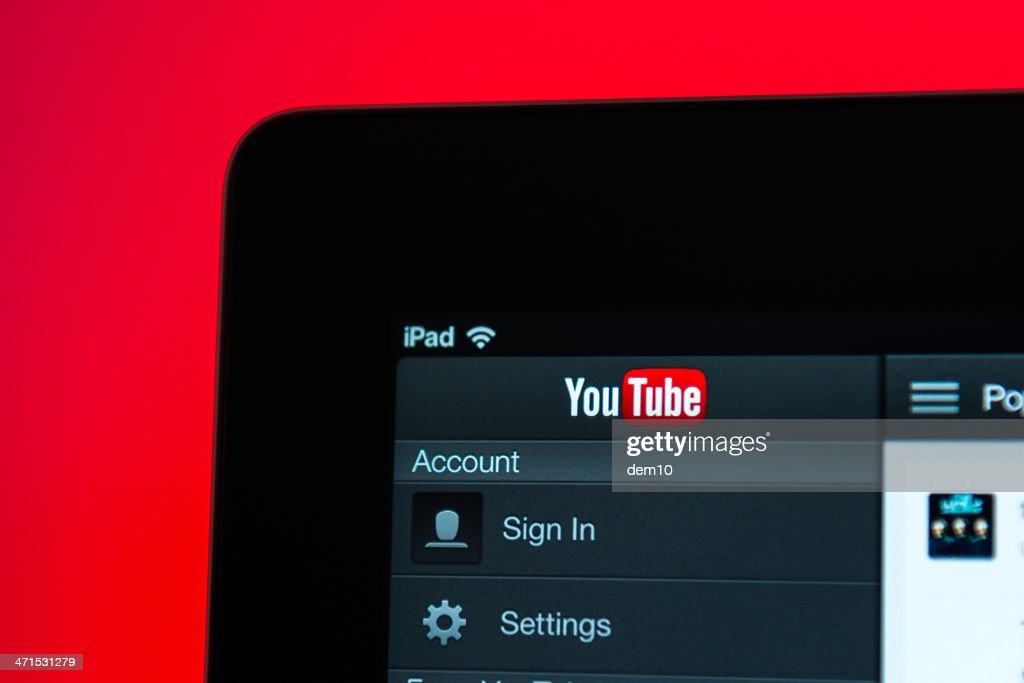 YouTube home screen on iPad : Stock Photo
