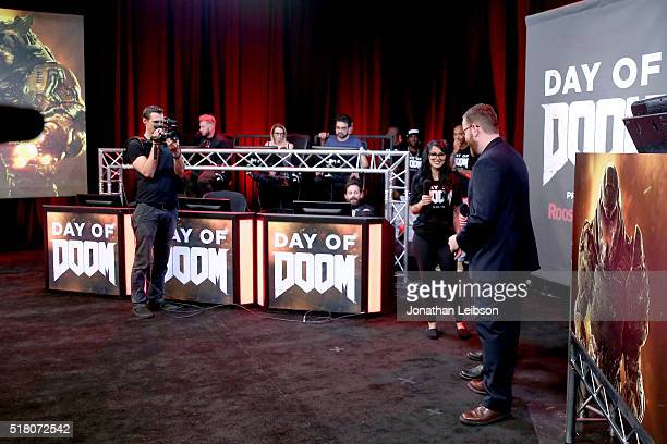 YouTube influencer SSSniperWolf and host Jack Pattillo attend as athletes and YouTube stars team for DOOM Videogame Tournament at Siren Studios on...