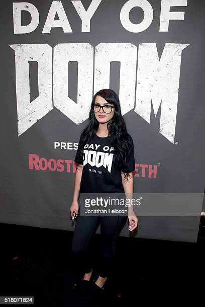 YouTube influencer SSSniperWolf attends as athletes and YouTube stars team for DOOM Videogame Tournament at Siren Studios on March 29 2016 in...