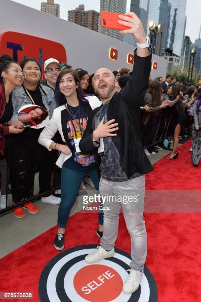 YouTube Influencers Gabbie Hanna and Matthew Santoro attends the YouTube #Brandcast presented by Google at Javits Center North on May 4 2017 in New...