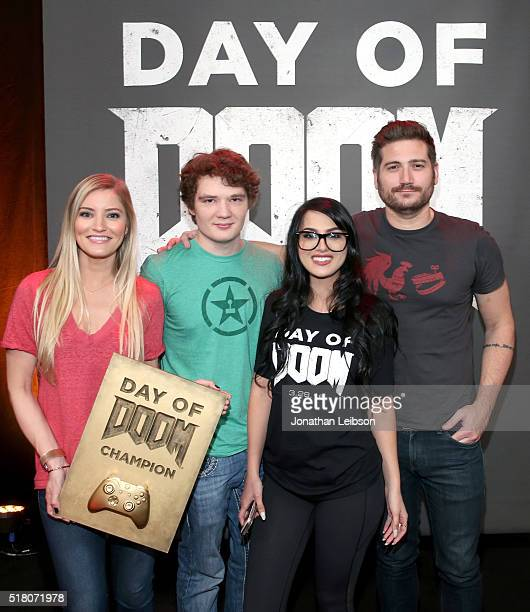YouTube influencers Justine Ezarik Michael Jones SSSniperWolf and Adam Kovic attend as athletes and YouTube stars team for DOOM Videogame Tournament...