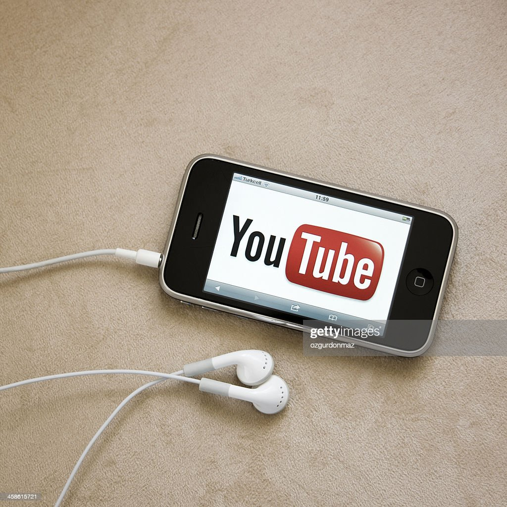 Youtube Logo On Iphone Screen Stock Photo Getty Images