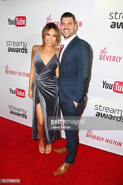 Youtube Makeup Sensation Desi Perkins and guest arrive at the Steamy Awards at The Beverly Hilton Hotel on October 4 2016 in Beverly Hills California