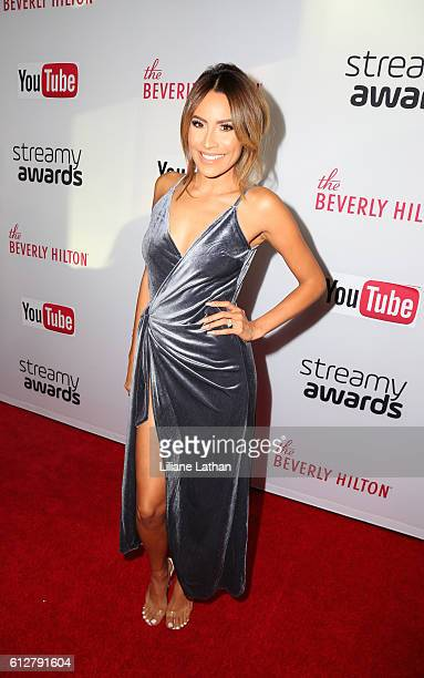 Youtube Makeup Sensation Desi Perkins arrives at the Steamy Awards at The Beverly Hilton Hotel on October 4 2016 in Beverly Hills California
