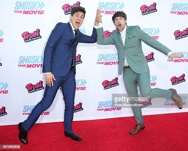 YouTube personalities Anthony Padilla and Ian Hecox attend the premiere of AwesomenessTV and Defy Media's 'Smosh The Movie' at Westwood Village...