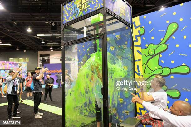 YouTube personalities David Moore and Josh Killacky at Nickelodeon's booth at 2018 VidCon at Anaheim Convention Center on June 22 2018 in Anaheim...