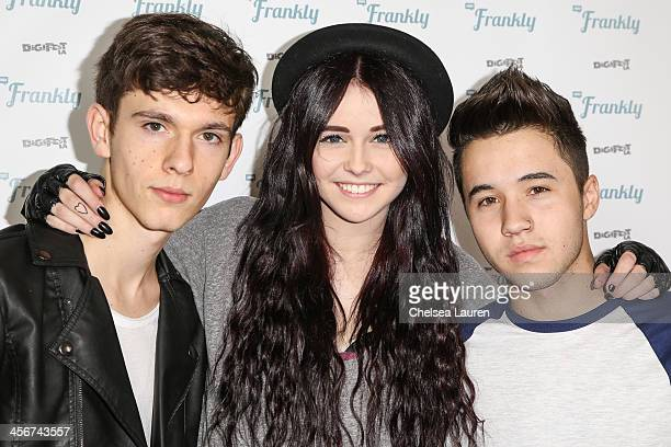 Youtube personalities Erdis Tafilica Acacia Brinley and Connor Montgomery arrive at DigiFest LA at Hollywood Palladium on December 14 2013 in...