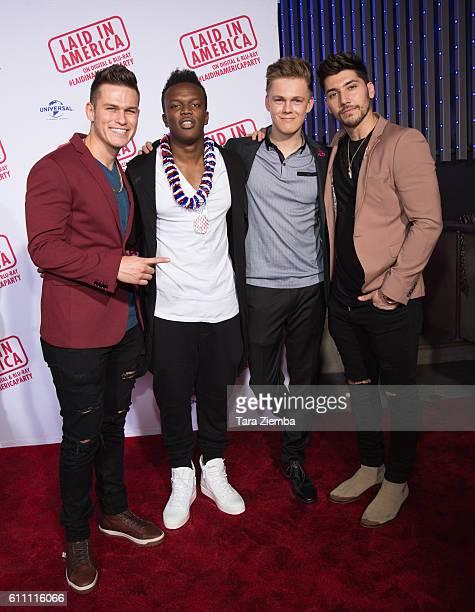 YouTube personalities Jorge Munoz KSI Caspar Lee and Josh Leyva attend the premiere of 'Laid In America' at AMC Universal City Walk on September 28...