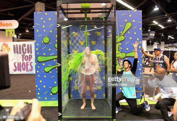YouTube personalities Josh Killacky and David Moore at Nickelodeon's booth at 2018 VidCon at Anaheim Convention Center on June 22 2018 in Anaheim...