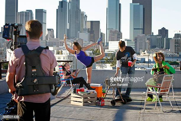ANGELES CA YouTube personalities make a yearinreview parody video on the roof of a Los Angeles building on Nov 14 2013 Left to right Kaycee Rice age...