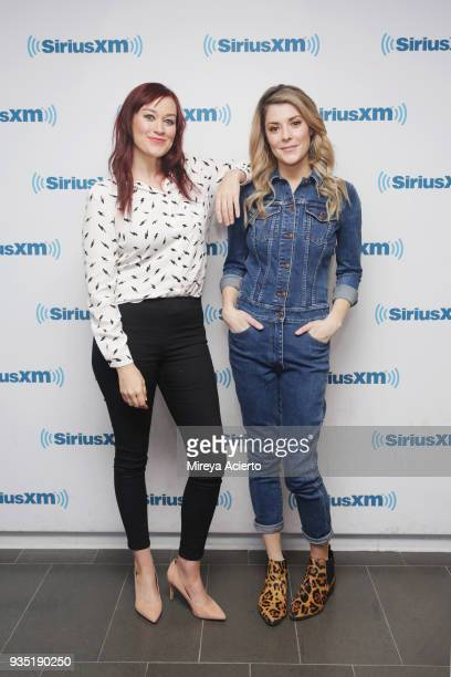 YouTube personalities Mamrie Hart and Grace Helbig visit SiriusXM Studios on March 20 2018 in New York City