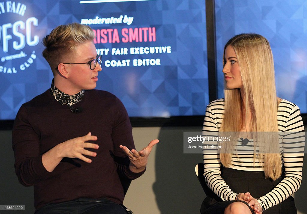 YouTube personalities Tyler Oakley (L) and iJustine speak onstage during Vanity Fair Campaign Hollywood Social Club - 'YouTube All Stars:' Social Media Influencers Panel Discussion on February 16, 2015 in Los Angeles, California.