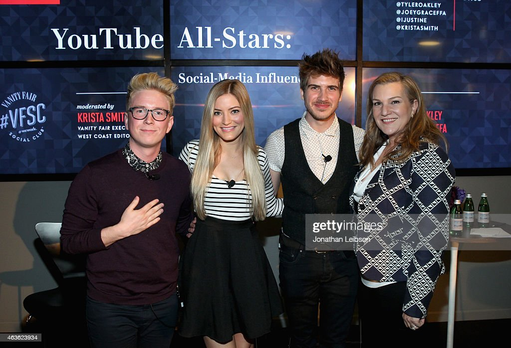YouTube personalities Tyler Oakley, iJustine and Joey Graceffa and Vanity Fair Executive West Coast Editor Krista Smith attend Vanity Fair Campaign Hollywood Social Club - 'YouTube All Stars:' Social Media Influencers Panel Discussion on February 16, 2015 in Los Angeles, California.