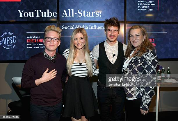 YouTube personalities Tyler Oakley iJustine and Joey Graceffa and Vanity Fair Executive West Coast Editor Krista Smith attend Vanity Fair Campaign...