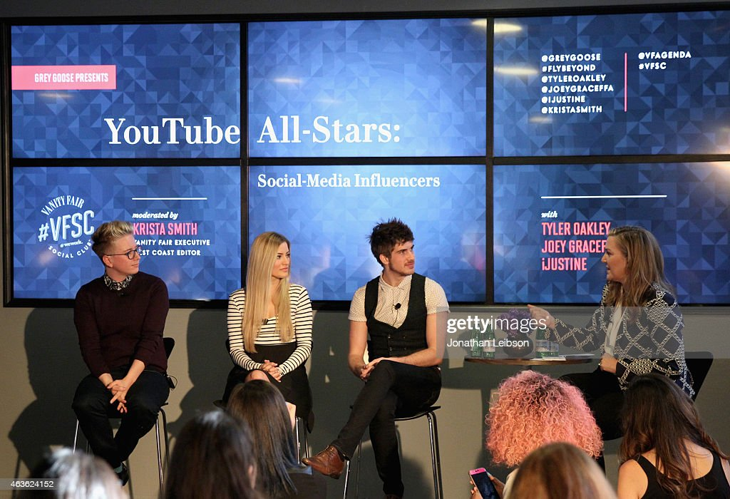 YouTube personalities Tyler Oakley, iJustine and Joey Graceffa and Vanity Fair Executive West Coast Editor Krista Smith speak onstage during Vanity Fair Campaign Hollywood Social Club - 'YouTube All Stars:' Social Media Influencers Panel Discussion on February 16, 2015 in Los Angeles, California.
